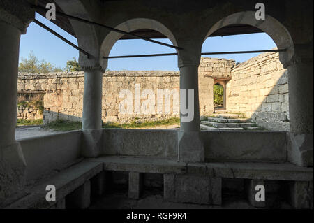 Great Kenassa from XIV century and Small Kenassa from XVIII century in medieval city-fortress Çufut Qale (Jewish Fortress) in the Crimean Mountain in  - Stock Photo