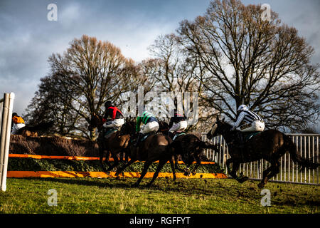 Friars Haugh, Kelso, Scottish Borders, UK. 27th January 2019. The Jedforest point to point race meeting is the first of the season in Scotland. To com - Stock Photo