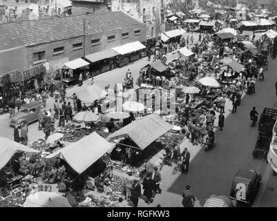 Italy, Lombardy, Milan, view of the fair senigallia, via calatafimi, 1955 - Stock Photo