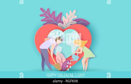 Valentines day card with couple take care of love heart plant with Eather globe. Vector paper art illustration. Paper cut and craft style. - Stock Photo