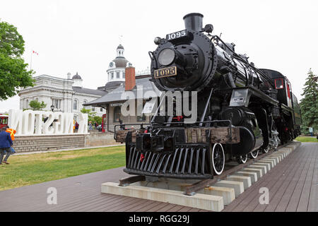Engine 1095, which ran on the Canadian Pacific Railway, at Kingston in Ontario, Canada. The steam locomotive was built by the Canadian Locomotive Comp - Stock Photo