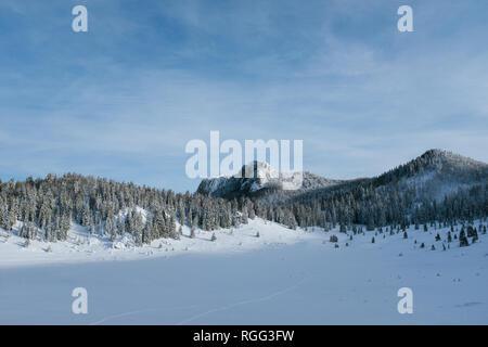 Veliki Lubenovac and Kozjak on Velebit in Winter - Stock Photo