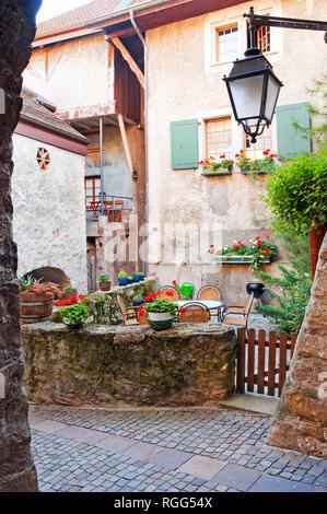 Courtyard of home, St Saphorin, Switzerland - Stock Photo