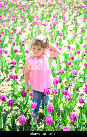 Spring style. face and skincare. allergy to flowers. Summer girl fashion. Happy childhood. Little girl in sunny spring. Small child. Natural beauty - Stock Photo