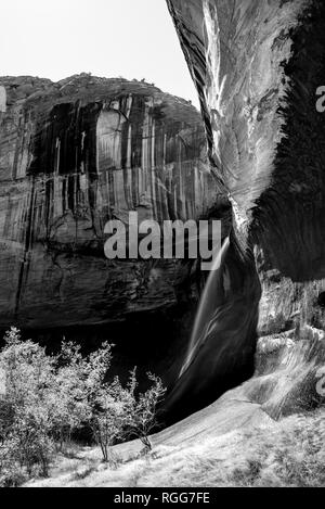 Waterfall in black and white at Lower Calf Creek  in the Grand Staircase Escalante National Park, Utah - Stock Photo