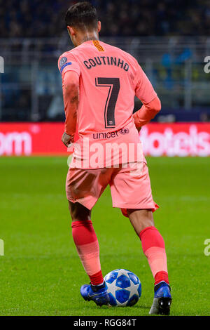 Milan - Nov 6, 2018: Philippe Coutinho 7 controls the ball. FC Internazionale - FC Barcelona. UEFA Champions League. Matchday 4. Giuseppe Meazza (San  - Stock Photo