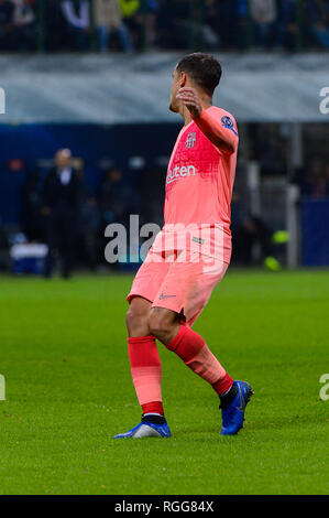 Milan - Nov 6, 2018: Philippe Coutinho 7. FC Internazionale - FC Barcelona. UEFA Champions League. Matchday 4. Giuseppe Meazza (San Siro) stadium. - Stock Photo