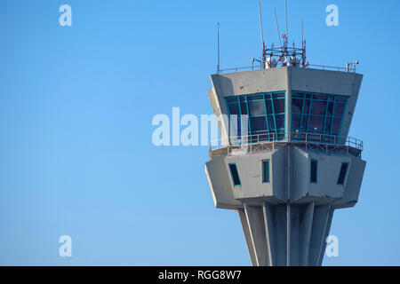 Airport air traffic control tower - Stock Photo