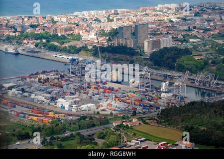 Aerial view of the Leixões port in Matosinhos, Portugal, Europe - Stock Photo