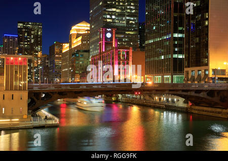 The night view of downtown Chicago with Chicago River,Merchandise Mart and other architectures in the background.Chicago.Illinois. USA - Stock Photo