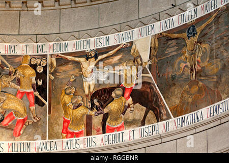 Paintings behind the altar and beneath the dome of the Basilica of Monte de Santa Luzia in Viana do Castelo, near Porto in Portugal, representing the  - Stock Photo