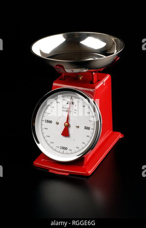 Scale steel and red for foods on a black and white - Stock Photo