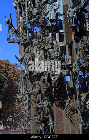 Carnival Fountain, Fastnachtsbrunnen, Landeshauptstadt , Schillerpl., 55116 Mainz, Germany, Europe - Stock Photo