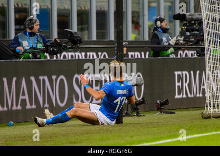 MILAN - NOV 17, 2018:  Ciro Immobile 17 on the grass. Italy - Portugal. UEFA Nations League. Giuseppe Meazza stadium. - Stock Photo