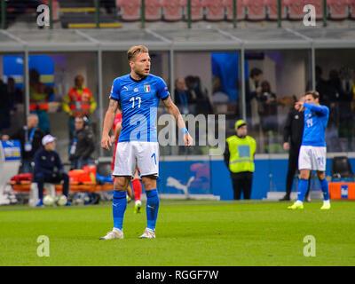 MILAN - NOV 17, 2018:  Ciro Immobile 17. Italy - Portugal. UEFA Nations League. Giuseppe Meazza stadium. - Stock Photo