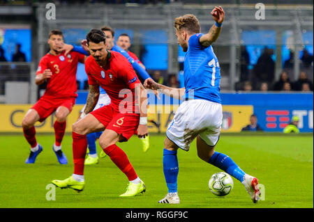 MILAN - NOV 17, 2018:  Ciro Immobile 17 in attack. Italy - Portugal. UEFA Nations League. Giuseppe Meazza stadium. - Stock Photo