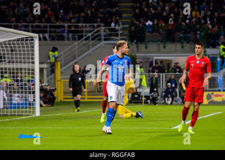MILAN - NOV 17, 2018:  Ciro Immobile 17. Italy - Portugal. UEFA Nations League. Giuseppe Meazza stadium. - Stock Photo
