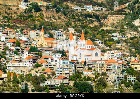 Mar Saba Cathedral and Our Lady of Diman Church in Bsharri, Lebanon - Stock Photo