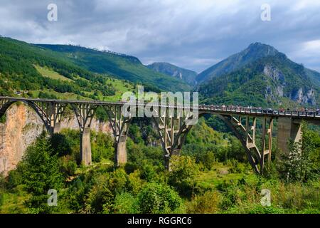 Tara Bridge, Durdevica, Tara Gorge, Durmitor National Park, Pljevlja Province, Montenegro - Stock Photo