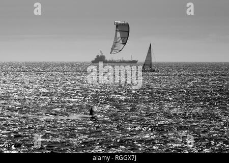 Matosinhos, Portugal - July 17, 2015: Ocean kitesurfing, a popular sport in portuguese northern coast due to winds - Stock Photo
