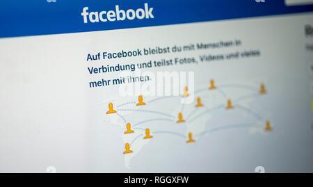Facebook, social network, home, logo, internet, screenshot, detail, Germany - Stock Photo