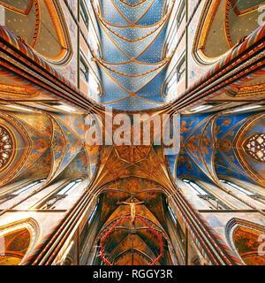 Vaults in the St. Mary's Basilica, place of pilgrimage, Kevelaer, Lower Rhine, North Rhine-Westphalia, Germany - Stock Photo