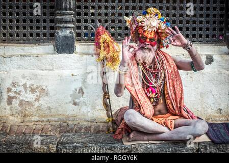 Sadhu, Ascetic, holy man, Pashupatinath, Kathmandu, Nepal - Stock Photo