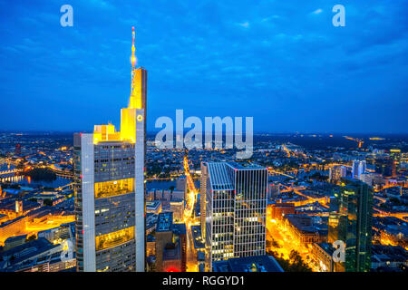 Germany, Hesse, Frankfurt, View to Commerzbank Tower, city view, blue hour - Stock Photo