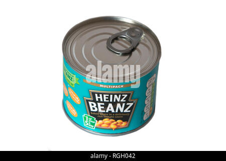 Small Tin of Heinz Baked Beanz on a clean white background, tin is from a multipack of beanz - Stock Photo
