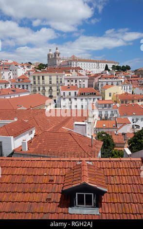 View over the Alfama district of Lisbon, Portugal, towards the Mosteiro De Sao Vicente De Fora ('Monastery of St. Vincent Outside the Walls'). - Stock Photo