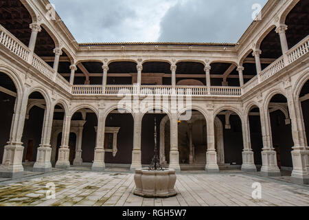 Penaranda de Duero, Burgos, Spain April 2015: view of the porticoed courtyard of the Palacio de los Condes de Miranda or Avellaneda in Peñaranda de Du - Stock Photo