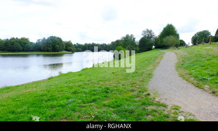 Dathee lake, Lac de la Dathee, popular place for night fishing on carp, yacht and golf in Normandy, France - Stock Photo