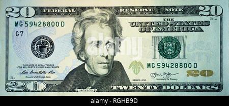 Macro shot of a new 20 dollar bill - Stock Photo