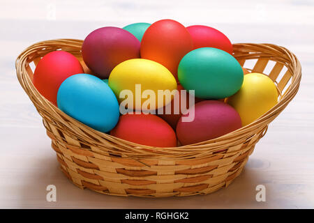 Many Easter colored eggs in the basket. Close-up - Stock Photo