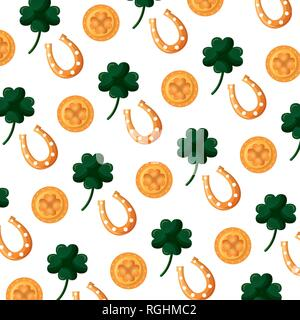background green clovers plant decoration - Stock Photo