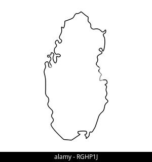 Map of Qatar - outline. Silhouette of Qatar map  illustration - Stock Photo