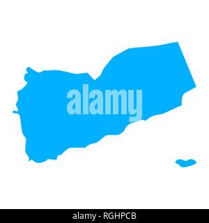 Map of Yemen - outline. Silhouette of Yemen map  illustration - Stock Photo