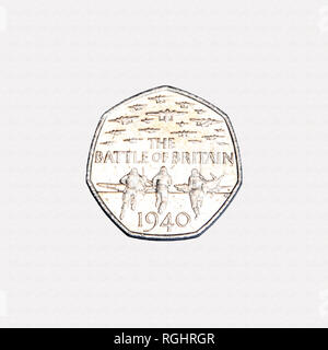 Battle of Britain 50p piece British coin commemorating the 75th anniversary of the battle of Britain - Stock Photo