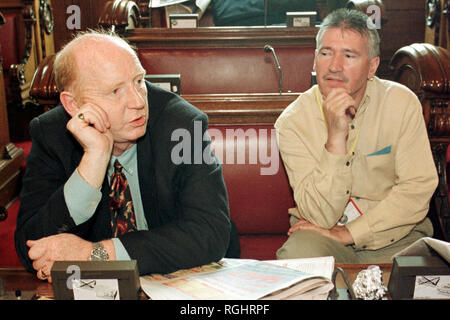 Gerry Adams's former driver, Terence 'Cleeky' Clarke (seen here on left)  in Belfast City Hall, Belfast, County Antrim. Terence 'Cleaky' Clarke (died 13 June 2000), older brother of Seamus; acted as a body guard to Gerry Adams; was imprisoned for seven years after being convicted of assaulting Corporal Derek Wood. He was on IRA active service on the South Armagh border for several months and in Derry after Bloody Sunday, but was caught in August 1972. - Stock Photo