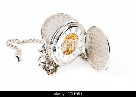 A retro old fashioned antique pocket watch or fob watch, silver metal case, open, showing the time. Isolated on white - Stock Photo