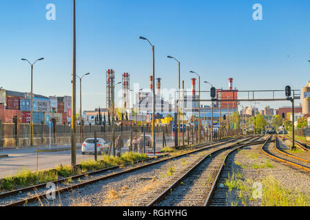 MONTEVIDEO, URUGUAY, OCTOBER - 2018 - Empty railway at old train station in montevideo city, Uruguay - Stock Photo