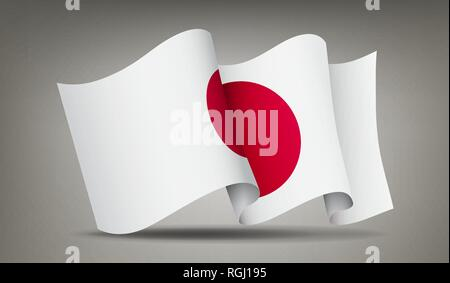 Japan waving flag icon isolated, official symbol of country, red circle on white background, vector illustration. - Stock Photo