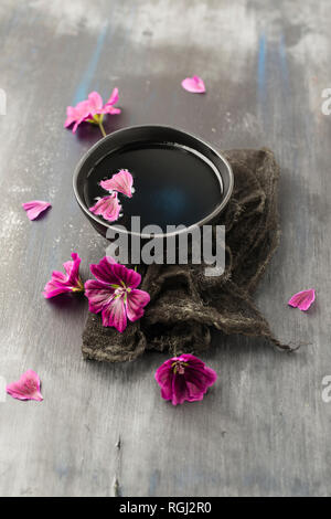 Tea extract of wild mallow, Malva sylvestris - Stock Photo