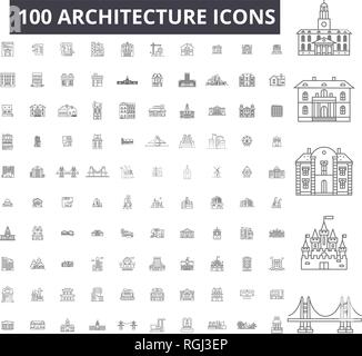 Architecture editable line icons, 100 vector set, collection. Architecture black outline illustrations, signs, symbols - Stock Photo