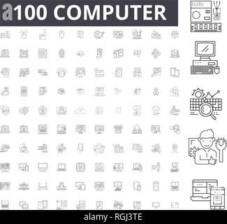 Computer editable line icons, 100 vector set, collection. Computer black outline illustrations, signs, symbols - Stock Photo