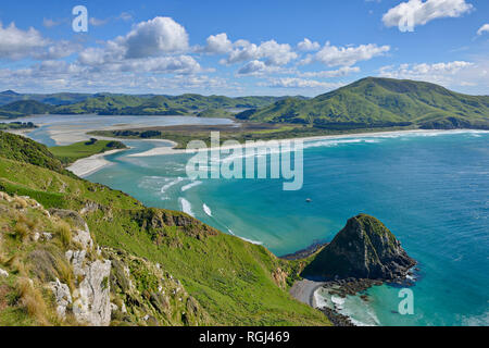 Allans Beach and Hoopers Inlet, Dunedin, Otago Peninusula, South Island, New Zealand - Stock Photo