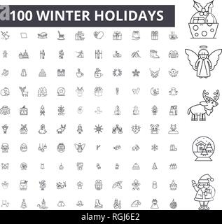 Winter holidays editable line icons, 100 vector set, collection. Winter holidays black outline illustrations, signs, symbols - Stock Photo