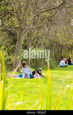 Johannesburg, South Africa - May 10 2014: Couples at an outdoor Food and Wine Festival - Stock Photo