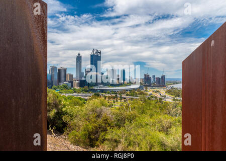 The Bali Memorial view from Kingspark to Perth Downtown in Australia - Stock Photo