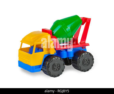 Colorful toy cement mixer machine on white background. - Stock Photo